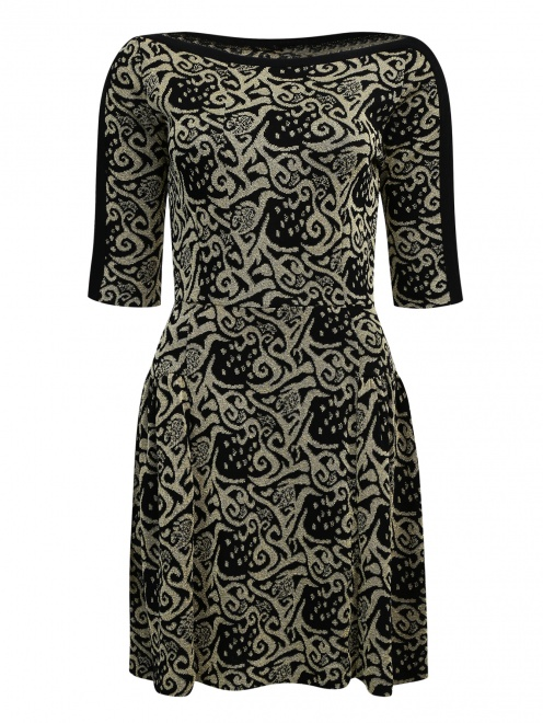 Платье из фактурной ткани с узором  - Общий вид