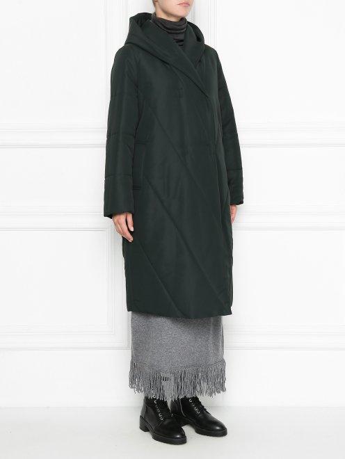 Пальто пуховое с капюшоном - МодельВерхНиз