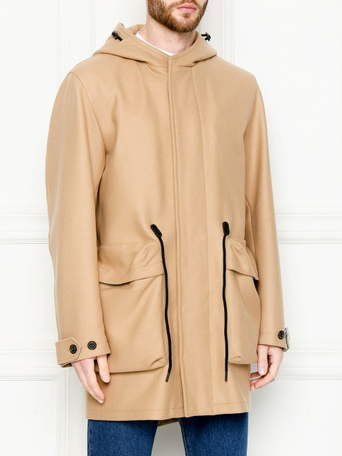 Пальто из смешанной шерсти с капюшоном и карманами  - МодельВерхНиз