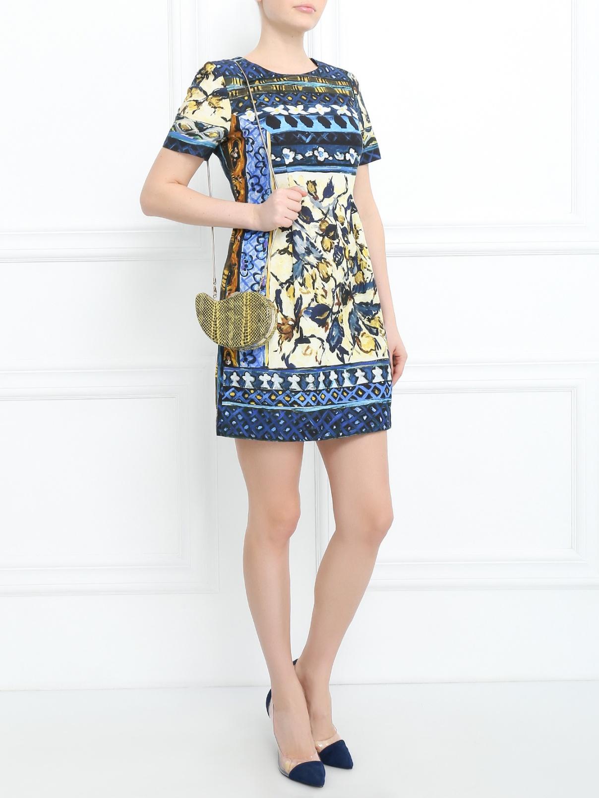 Платье-мини из хлопка с узором Alberta Ferretti  –  Модель Общий вид