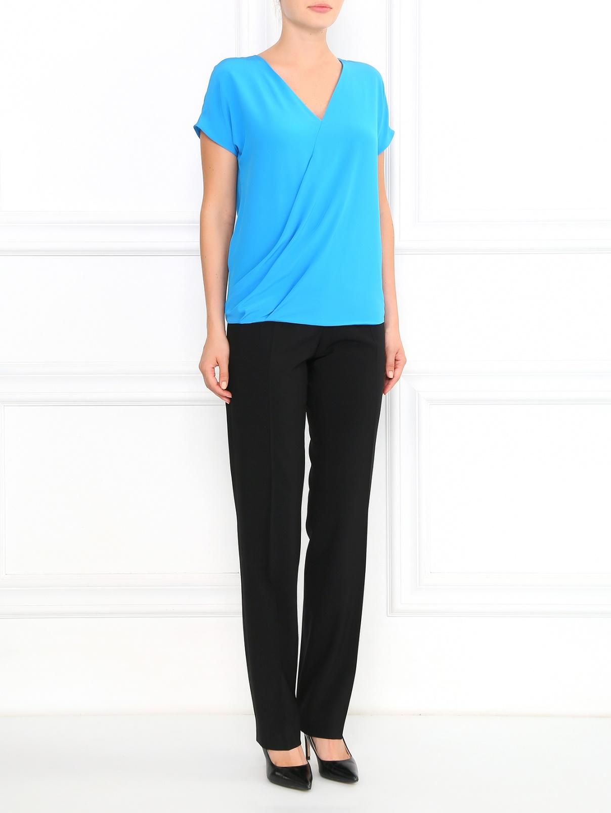 Блуза из шелка с запахом Etro  –  Модель Общий вид  – Цвет:  Синий