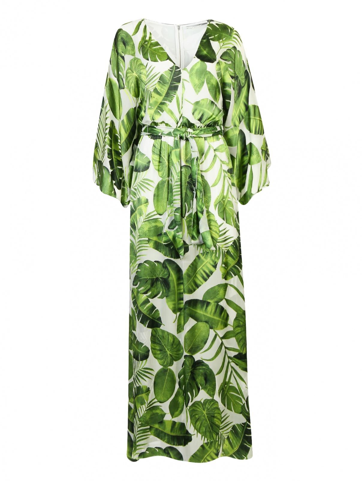 Платье-макси из смешанного шелка с узором Alice+Olivia  –  Общий вид