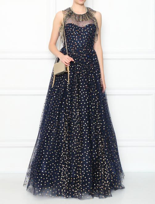Платье-макси из сетки декорированное кристаллами - Общий вид