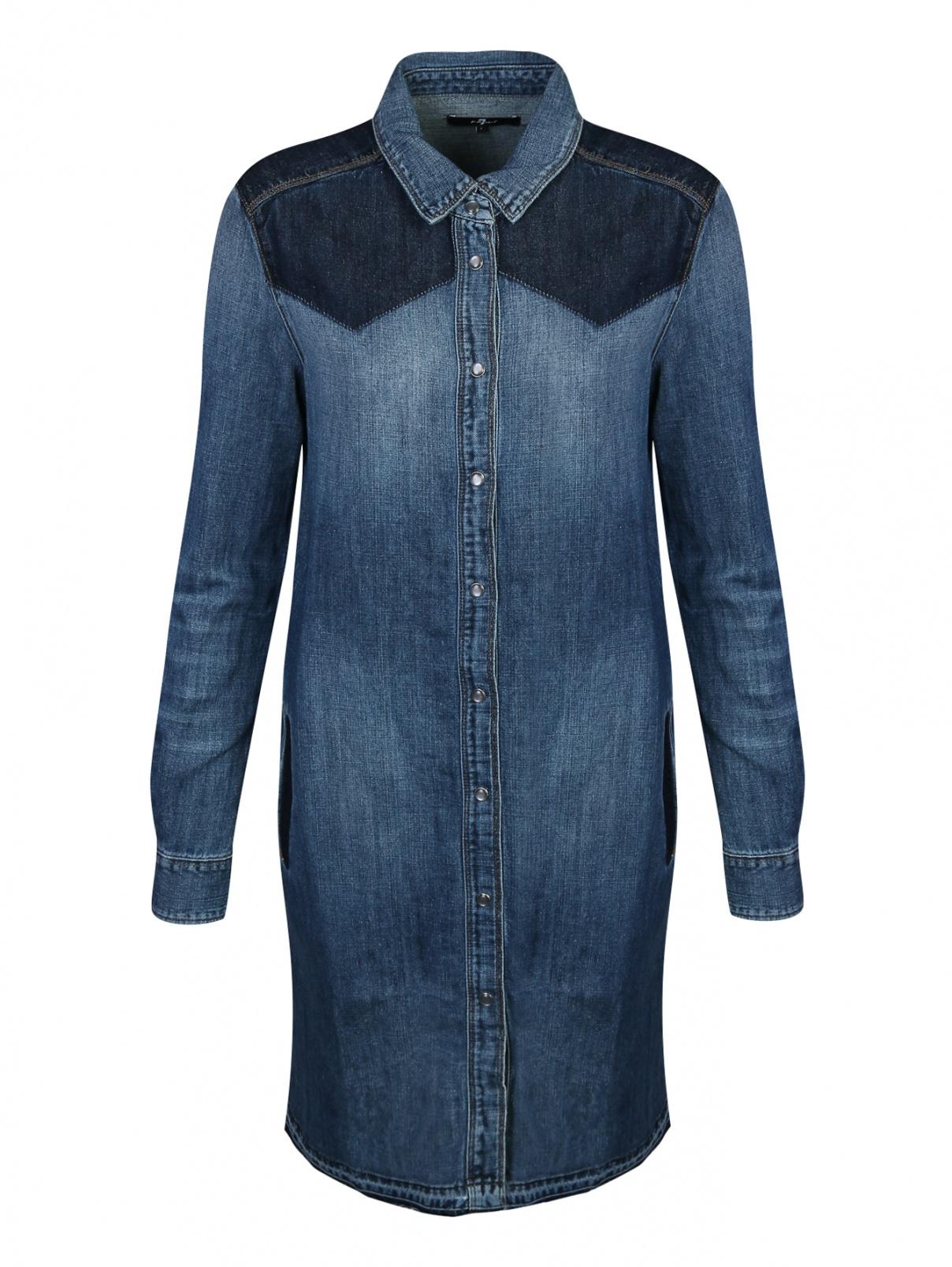 Платье из денима с контрастной отделкой 7 For All Mankind  –  Общий вид  – Цвет:  Синий