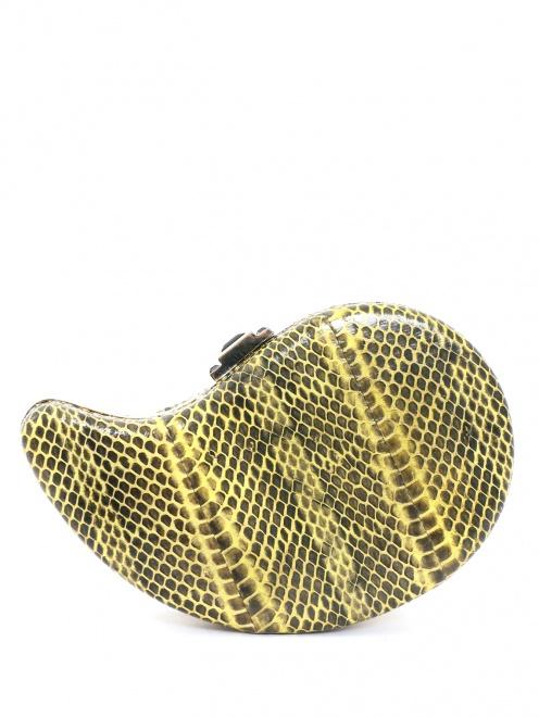 Клатч из кожи с тиснением под рептилию - Обтравка2