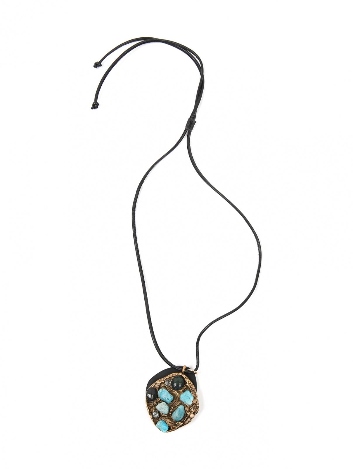 Колье на кожаном шнурке с подвеской из металла Weekend Max Mara  –  Общий вид  – Цвет:  Металлик