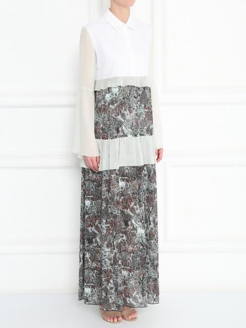 Платье-макси свободного кроя с узором - МодельВерхНиз