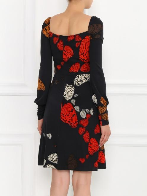 Платье-мини из шелка с узором и драпировкой  - Модель Верх-Низ1