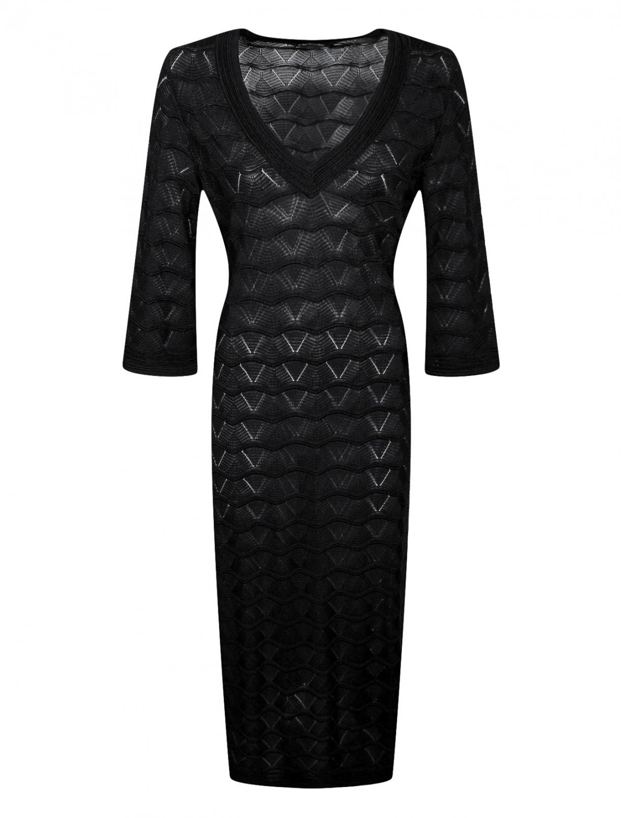 Трикотажное платье с ажурным узором Marina Rinaldi  –  Общий вид
