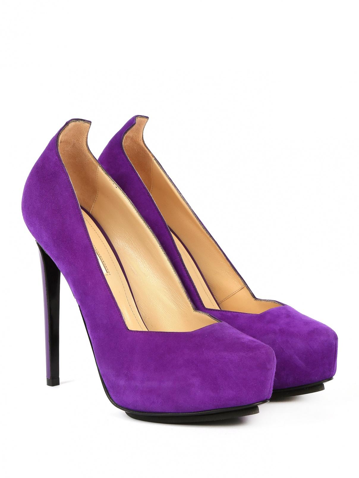 Туфли из замши на высоком каблуке и платформе BURAKUYAN  –  Общий вид  – Цвет:  Фиолетовый