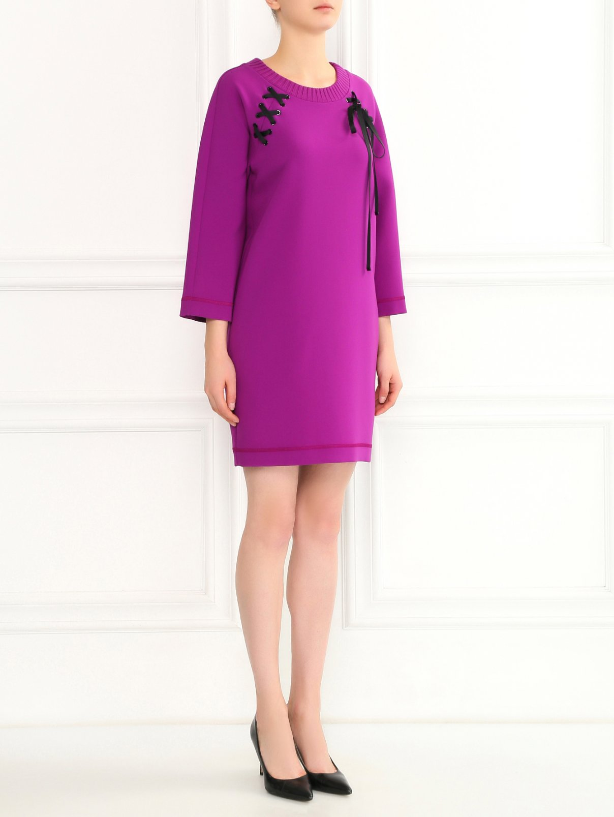 Платье-свитшот с декоративной шнуровкой Moschino Boutique  –  Модель Общий вид