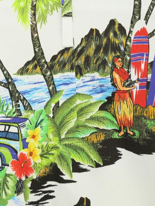 Шорты хлопковые с гавайским принтом - Деталь