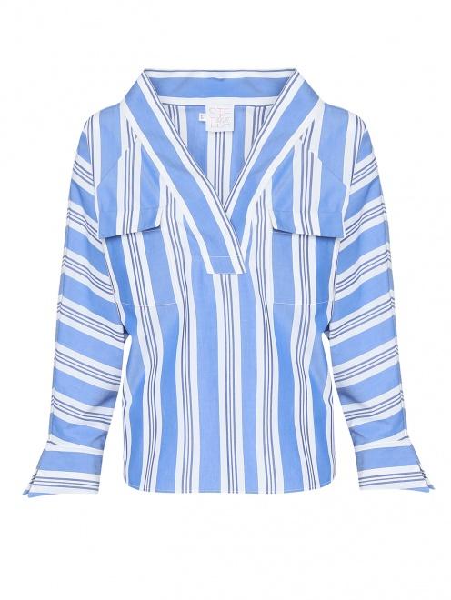 Блуза из хлопка с узором полоска - Общий вид