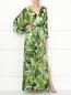 Платье-макси из смешанного шелка с узором Alice+Olivia  –  МодельОбщийВид