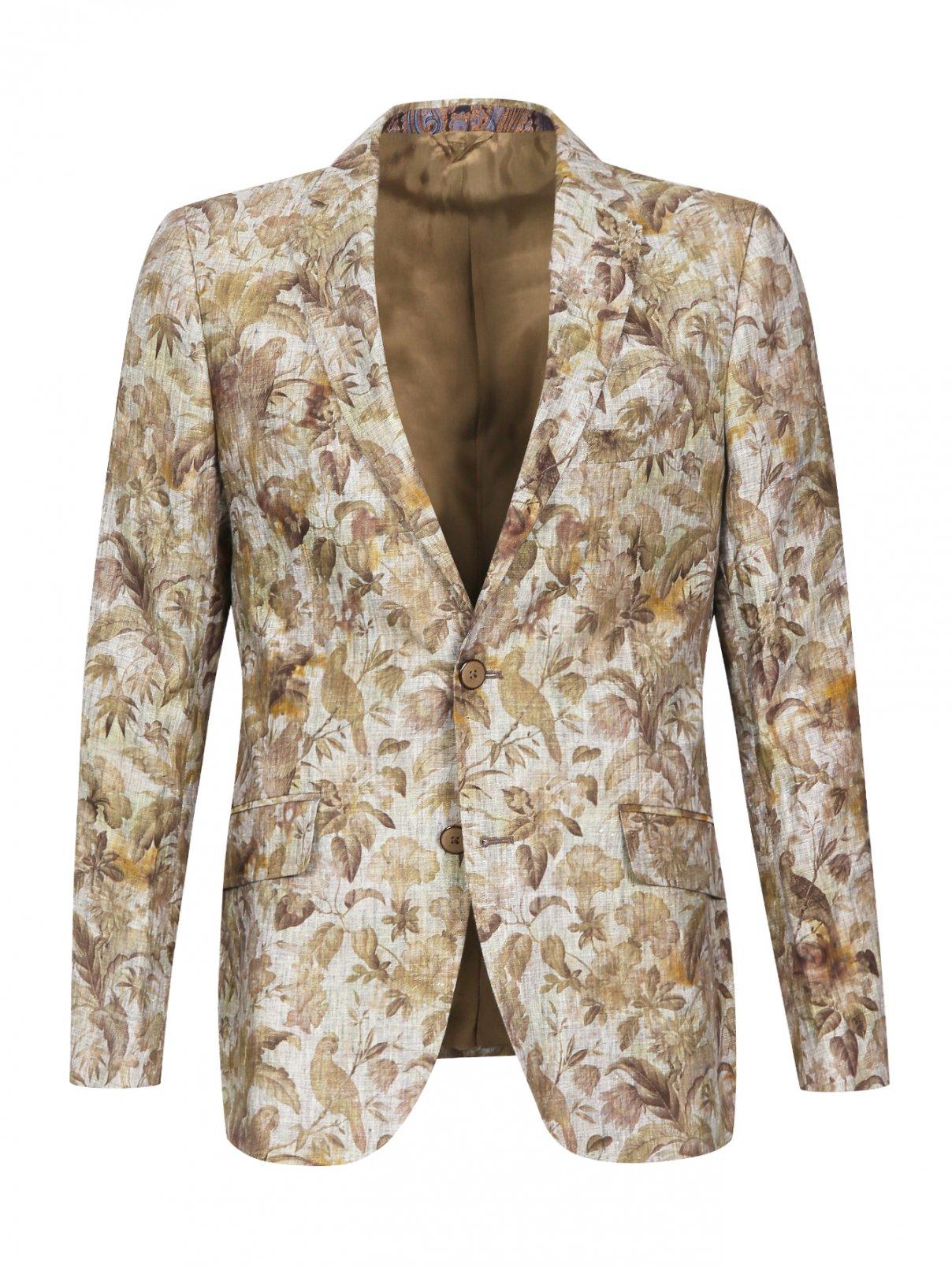 Пиджак из льна с цветочным узором Etro  –  Общий вид