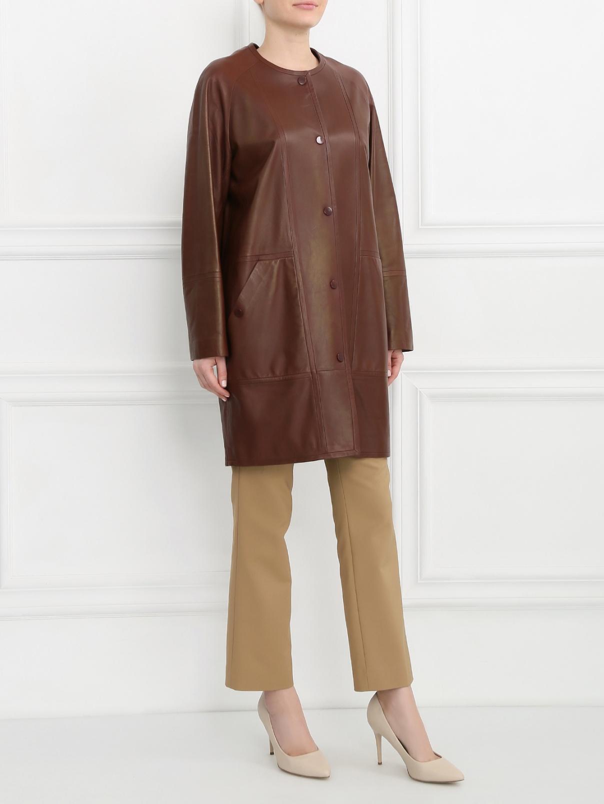 Пальто из кожи Yves Salomon  –  Модель Общий вид  – Цвет:  Коричневый