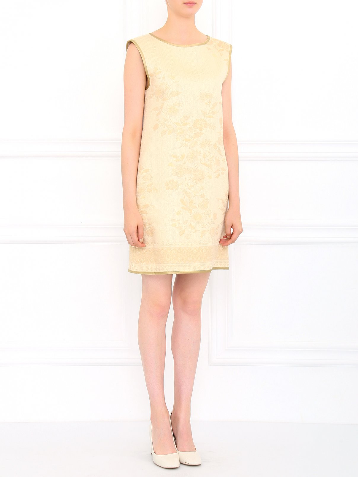 Платье прямого кроя с боковыми карманами Alberta Ferretti  –  Модель Общий вид  – Цвет:  Бежевый