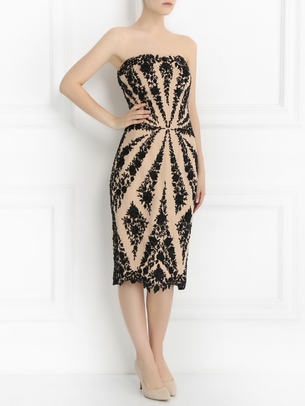 Платье-миди декорированое бисером Pavoni  –  Модель Общий вид