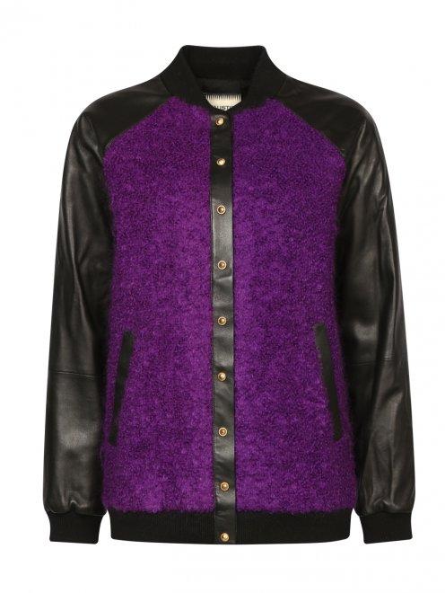 Куртка-бомбер из кожи и мохера - Общий вид