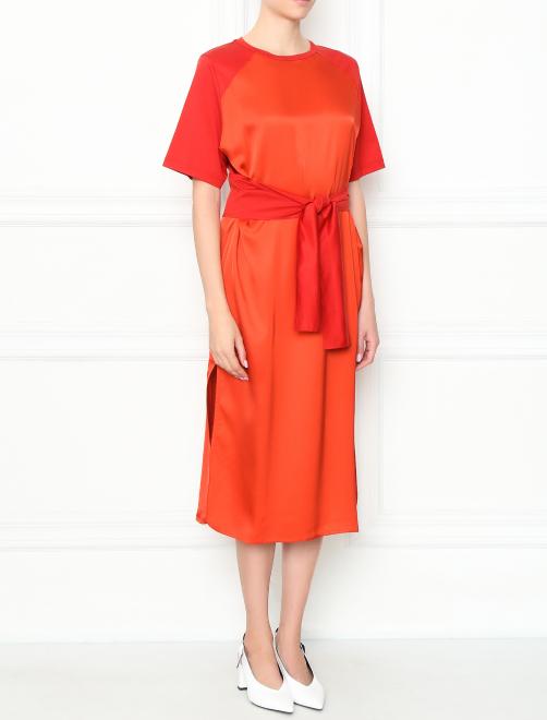 Платье-миди с короткими рукавами - МодельВерхНиз