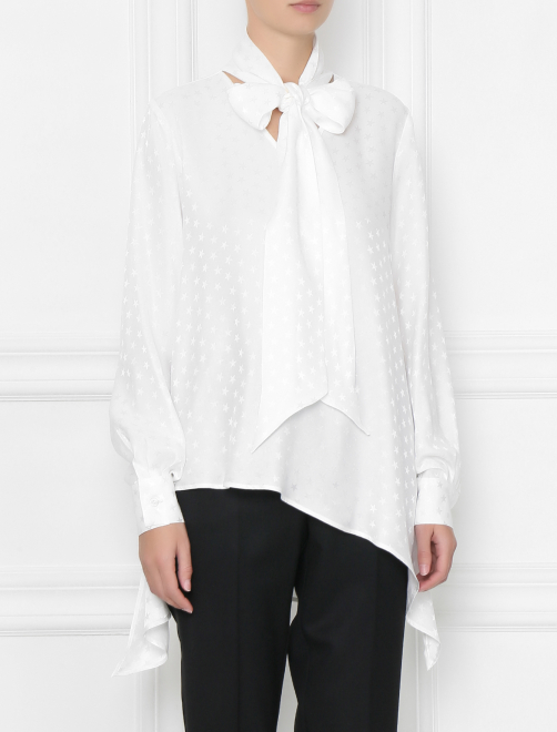 Блуза шелковая с узором звезды - МодельВерхНиз