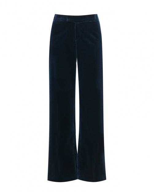 Бархатные брюки-клеш с боковыми карманами  - Общий вид