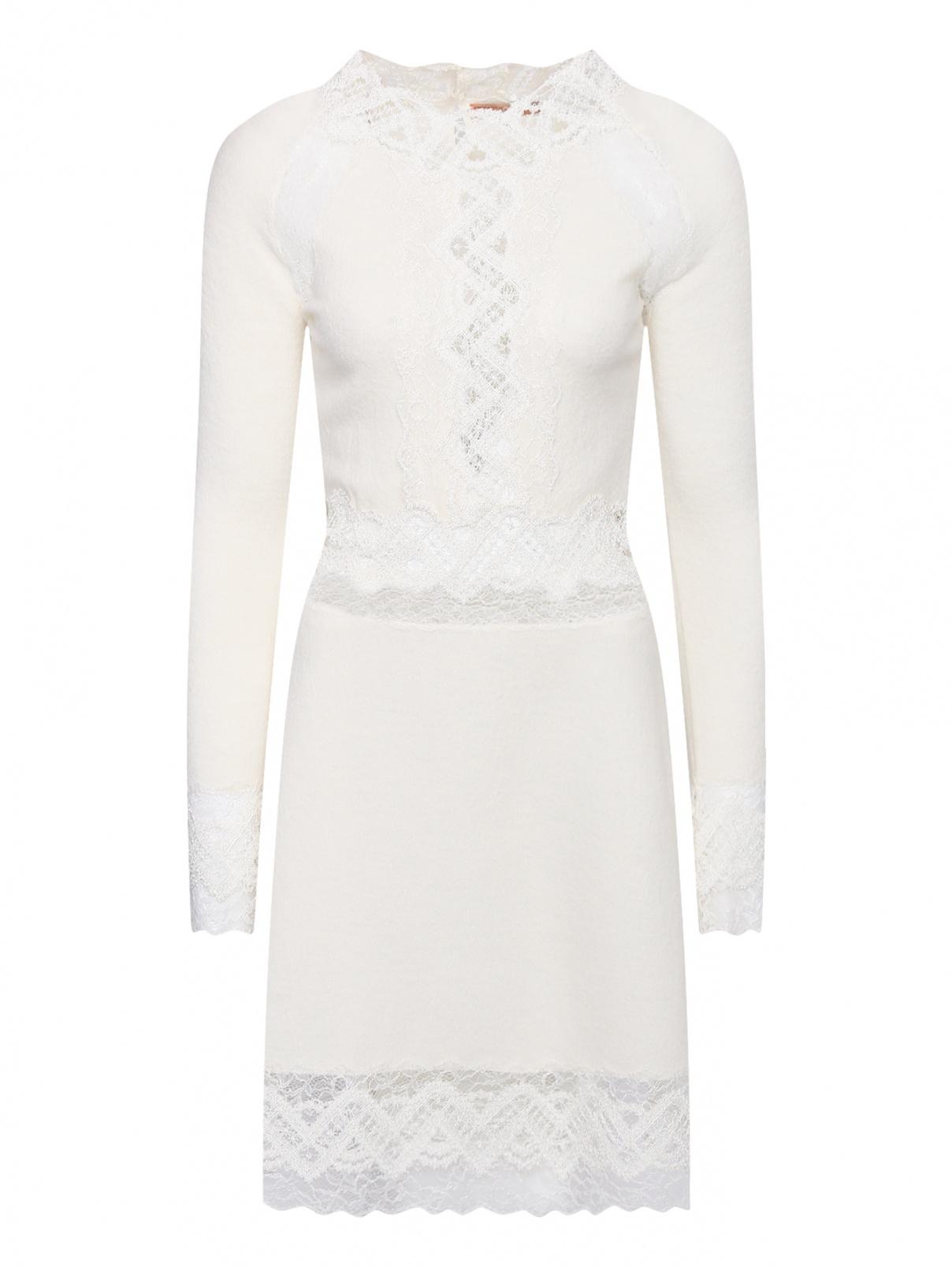 Платье из шерсти с кружевной отделкой Ermanno Scervino  –  Общий вид