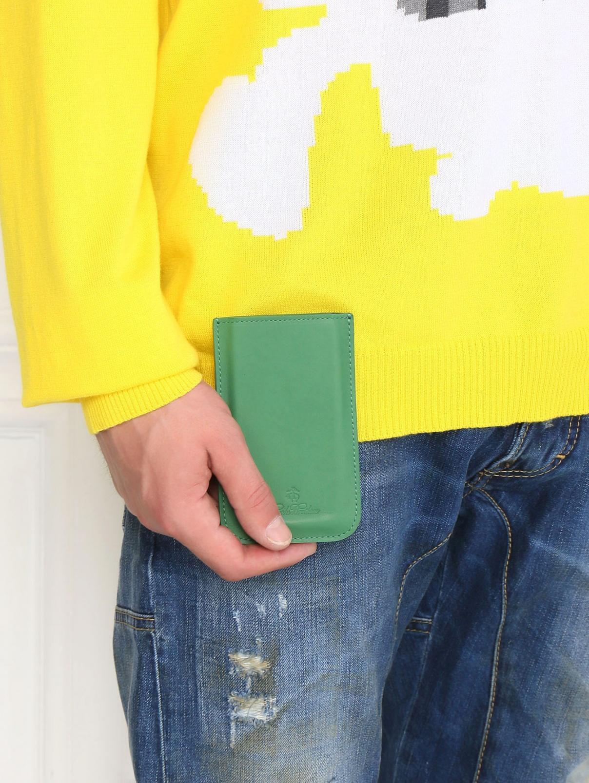 Чехол для Samsung из кожи Brooks Brothers  –  Модель Общий вид  – Цвет:  Зеленый