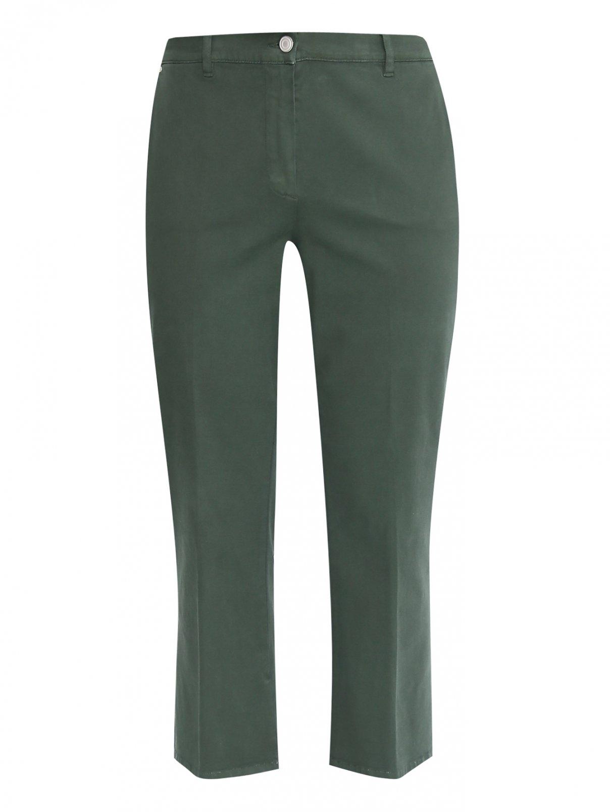 Укороченные брюки из хлопка с карманами Marina Sport  –  Общий вид  – Цвет:  Зеленый