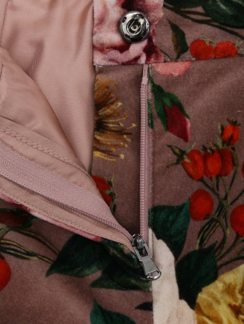 Брюки бархатные с цветочным узором - Деталь1