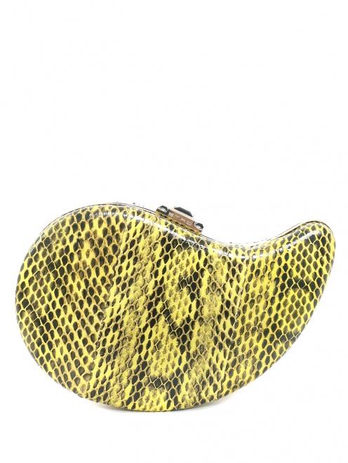 Клатч из кожи с тиснением под рептилию - Общий вид