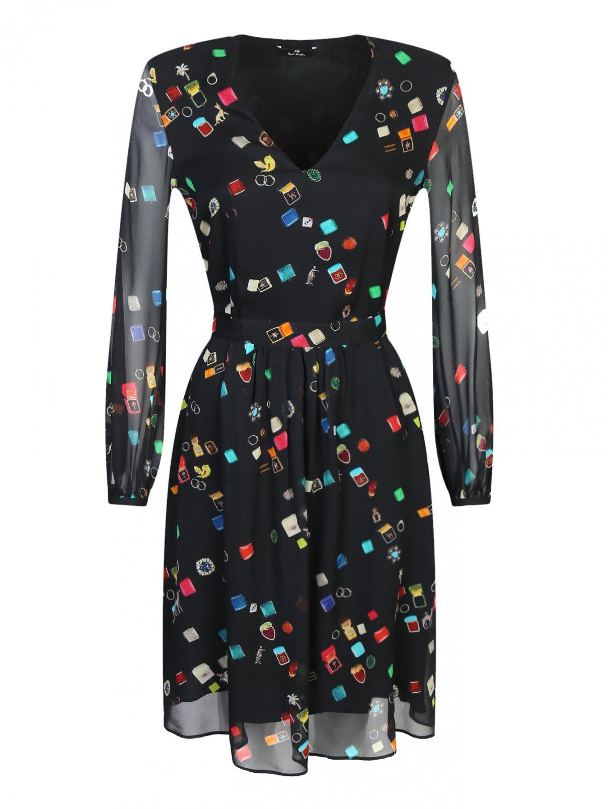 Полупрозрачное платье с узором под пояс Paul Smith  –  Общий вид