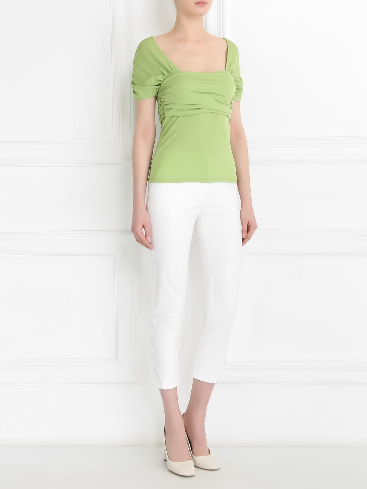 Топ с драпировкой Mariella Burani  –  Модель Общий вид  – Цвет:  Зеленый