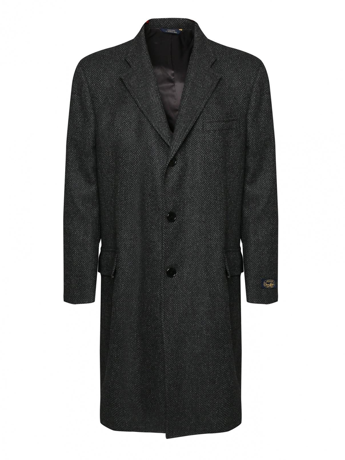 Пальто из шерсти с мелким узором Brooks Brothers  –  Общий вид  – Цвет:  Серый
