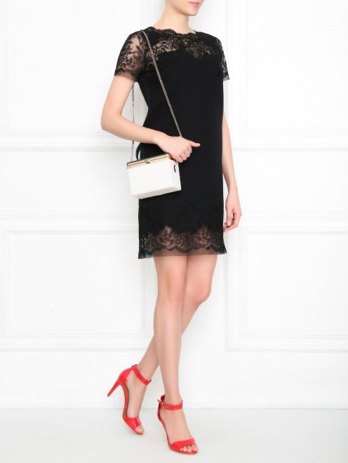Платье из шерсти ,шелка и кашемира с кружевом - МодельОбщийВид