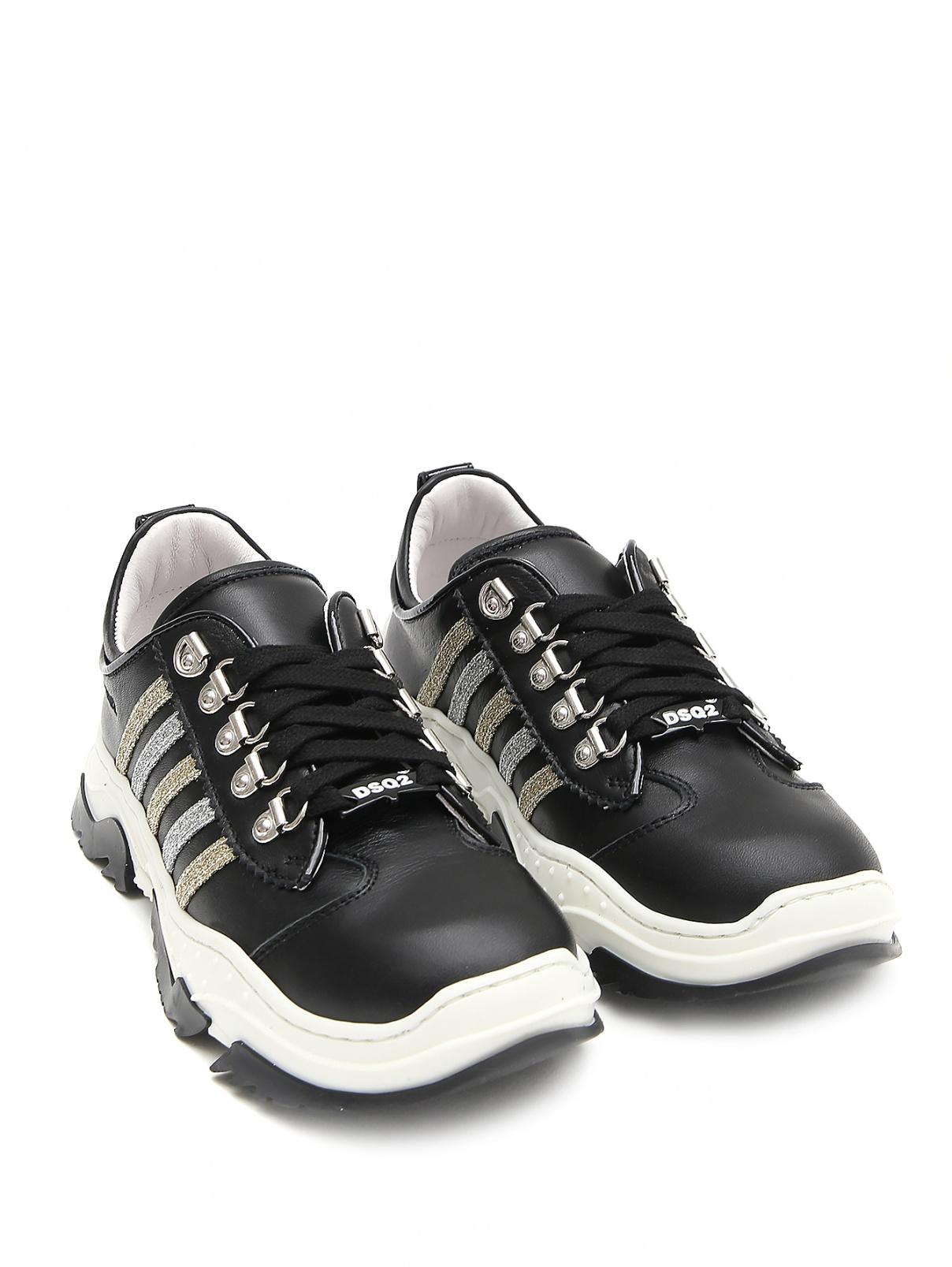 Кроссовки из кожи с блестками Dsquared2  –  Общий вид  – Цвет:  Черный