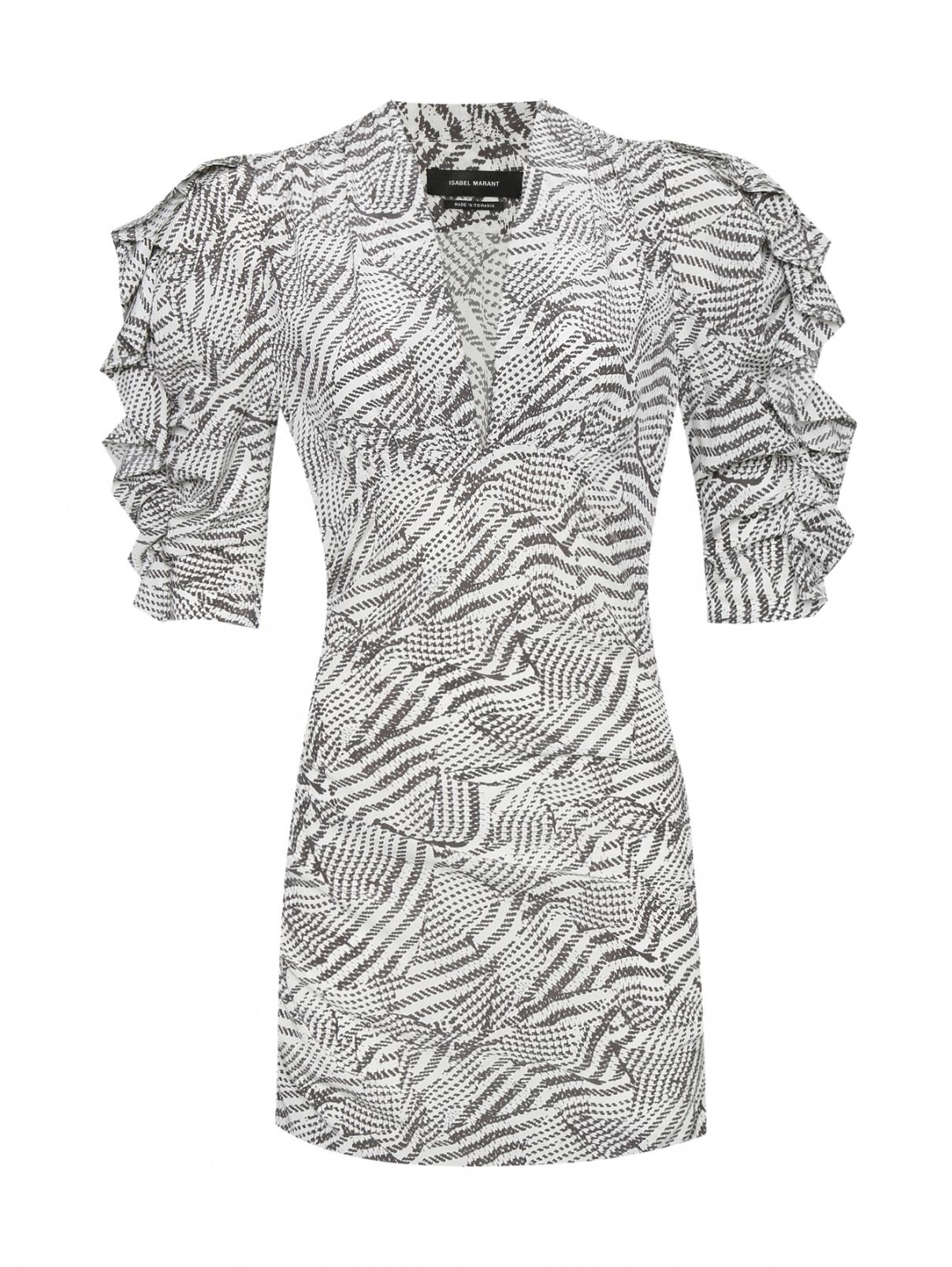 Платье из шелка с узором Isabel Marant  –  Общий вид  – Цвет:  Белый