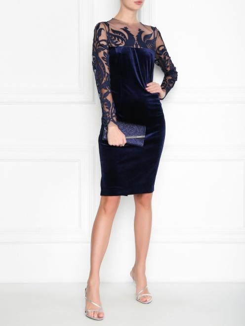 Бархатное платье с полупрозрачной вставкой - Общий вид