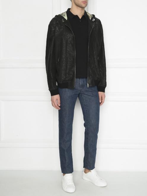 Куртка из кожи на молнии с капюшоном - Общий вид