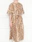 Платье из смешанного шелка с узором Rochas  –  МодельВерхНиз