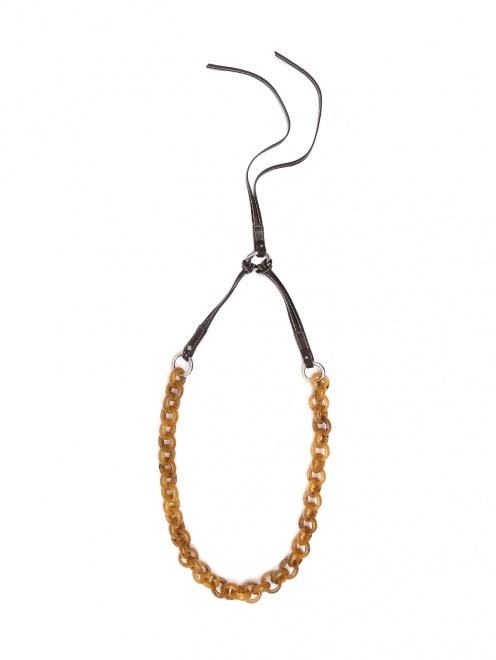 Ожерелье из пластика и кожи  - Общий вид