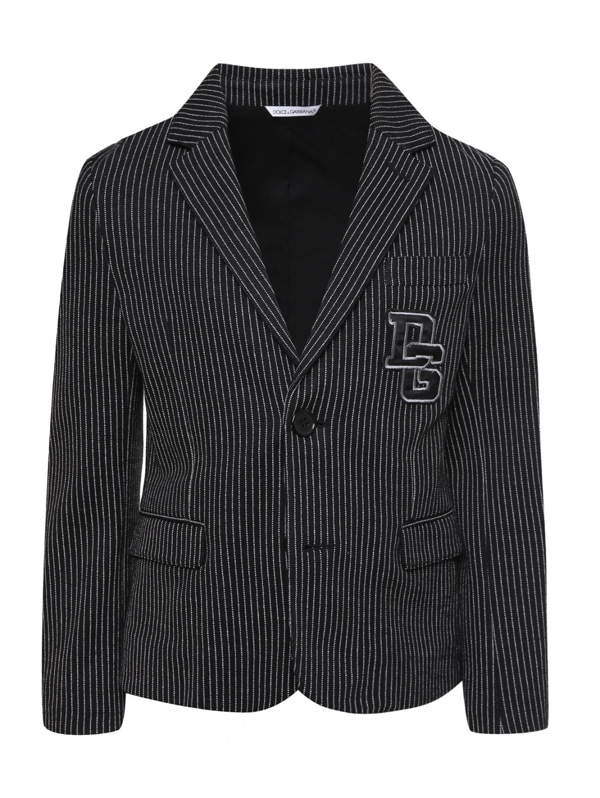 Пиджак трикотажный в полоску Dolce & Gabbana  –  Общий вид  – Цвет:  Черный
