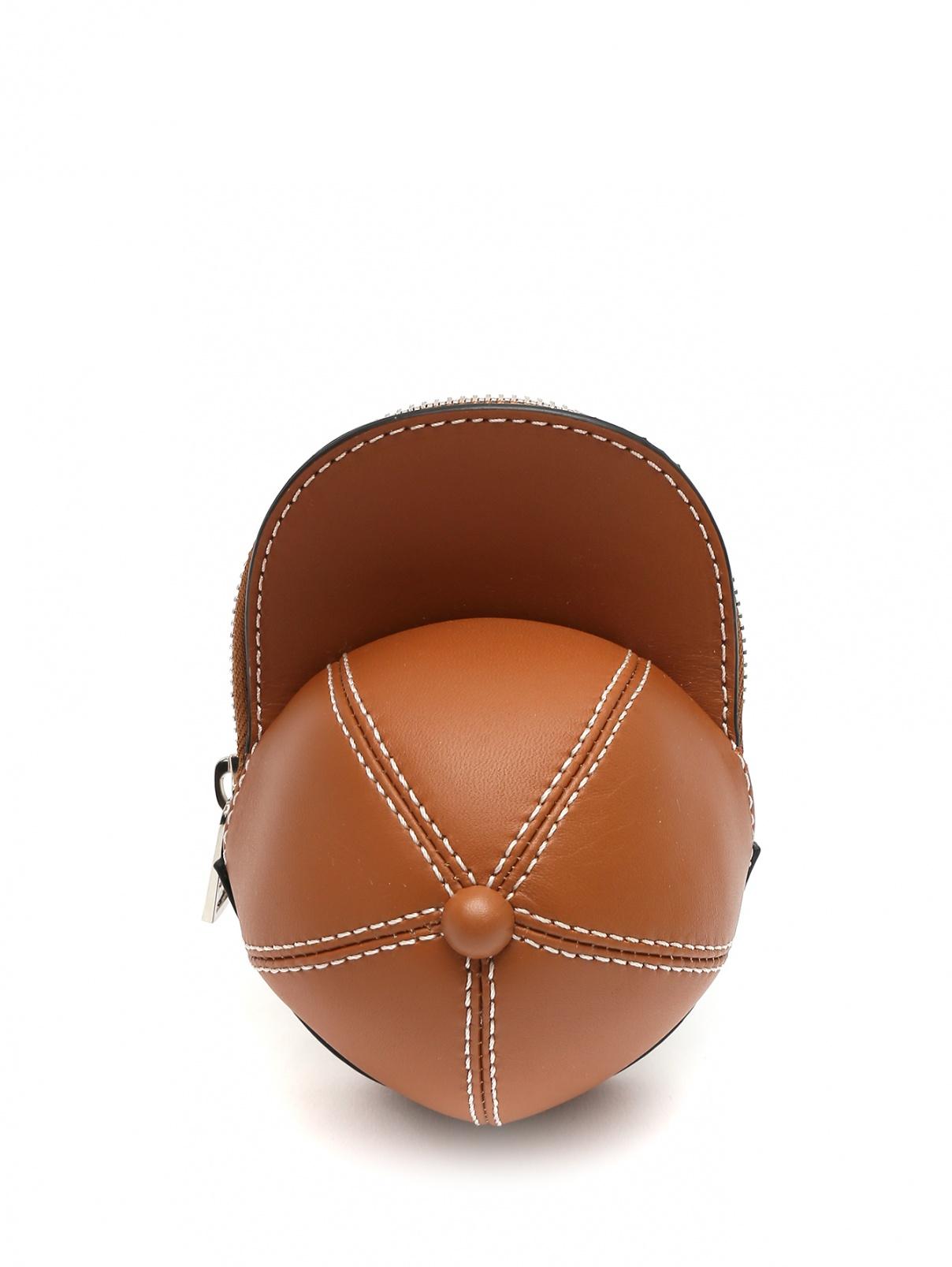 Мини-сумка из гладкой кожи с контрастной отстрочкой J.W. Anderson  –  Общий вид  – Цвет:  Коричневый
