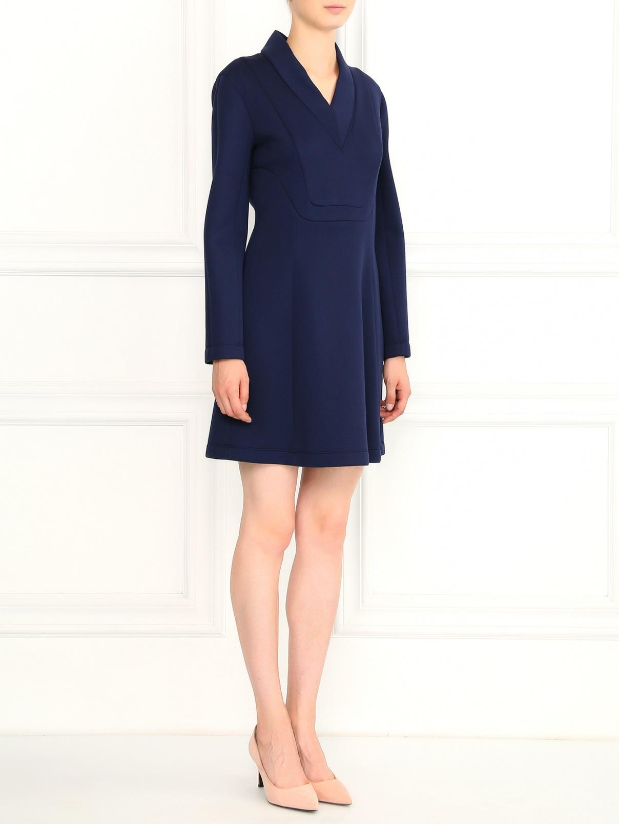 Платье-мини с V-образным вырезом Cedric Charlier  –  Модель Общий вид  – Цвет:  Синий