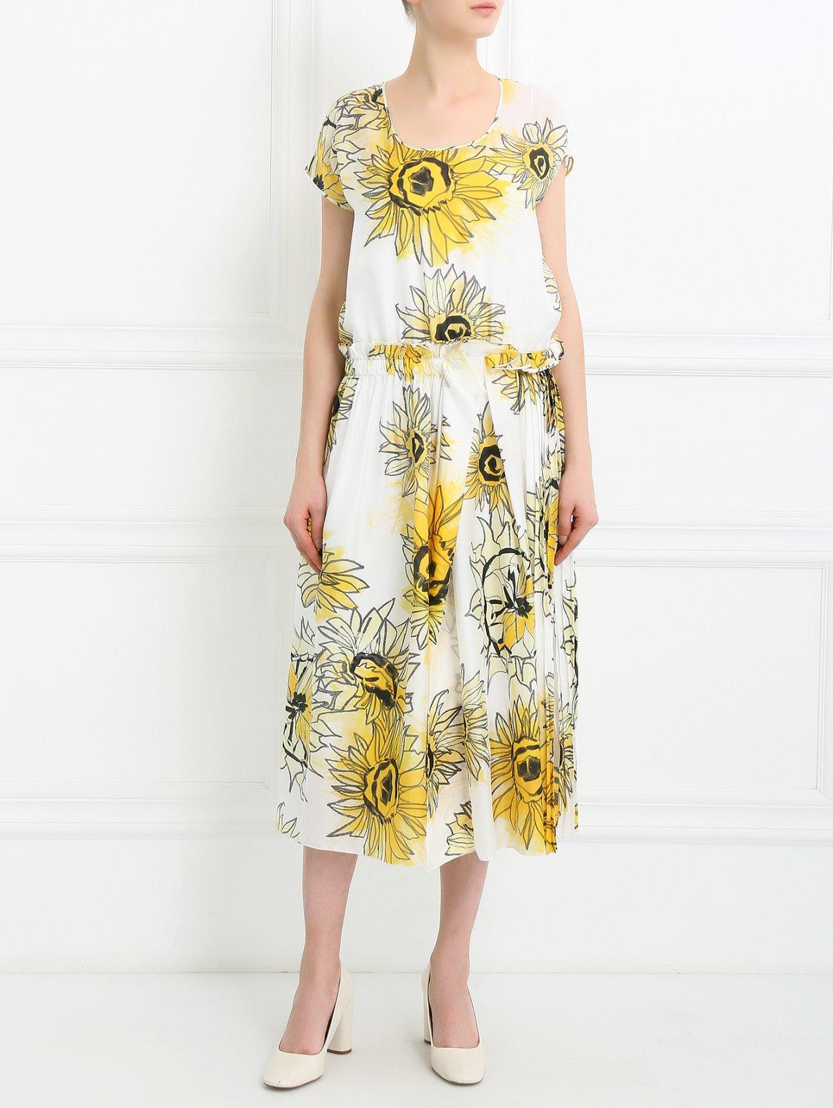 Платье из шелка с плиссированной юбкой N21  –  Модель Общий вид  – Цвет:  Белый
