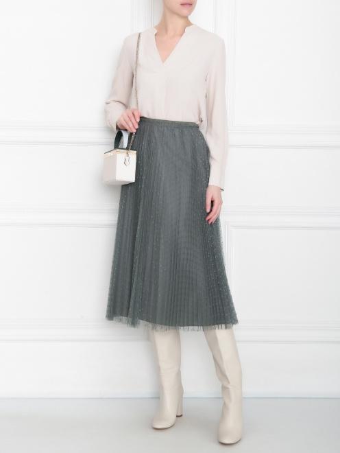Блуза из смессового шелка с v образным вырезом  - Общий вид