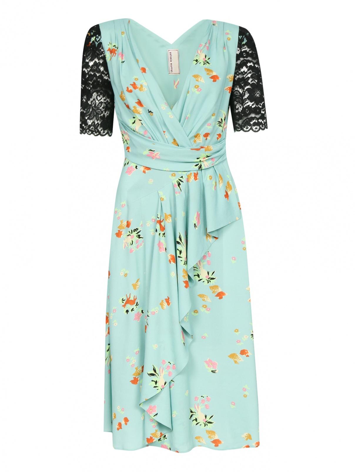 Платье-миди с узором и декоративной отделкой из кружева Antonio Marras  –  Общий вид  – Цвет:  Узор