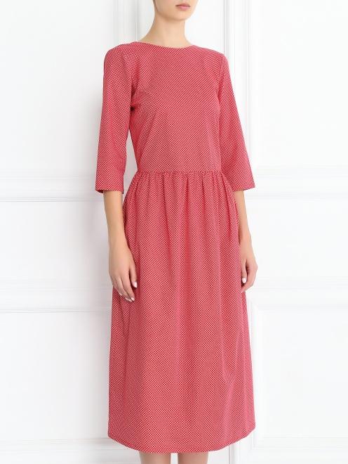 Платье-миди из хлопка с узором - Модель Верх-Низ
