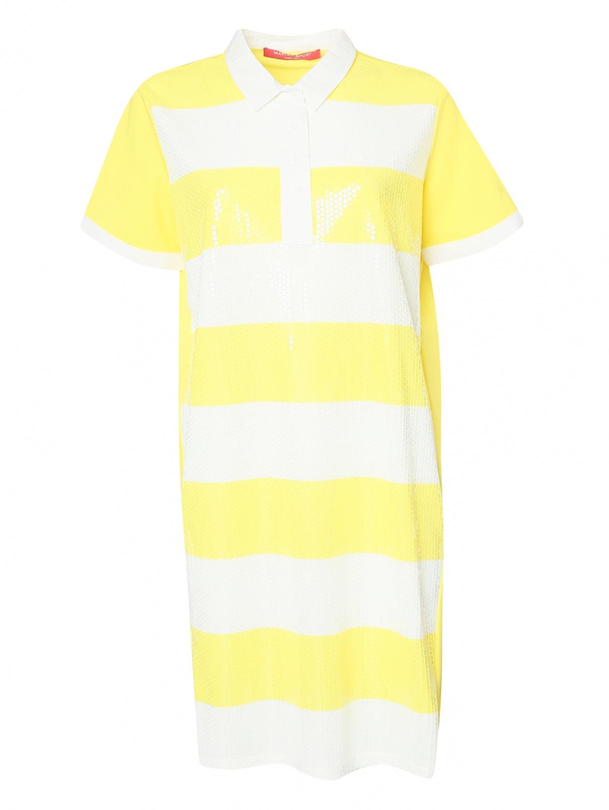 Платье из хлопка декорированное пайетками Marina Rinaldi  –  Общий вид