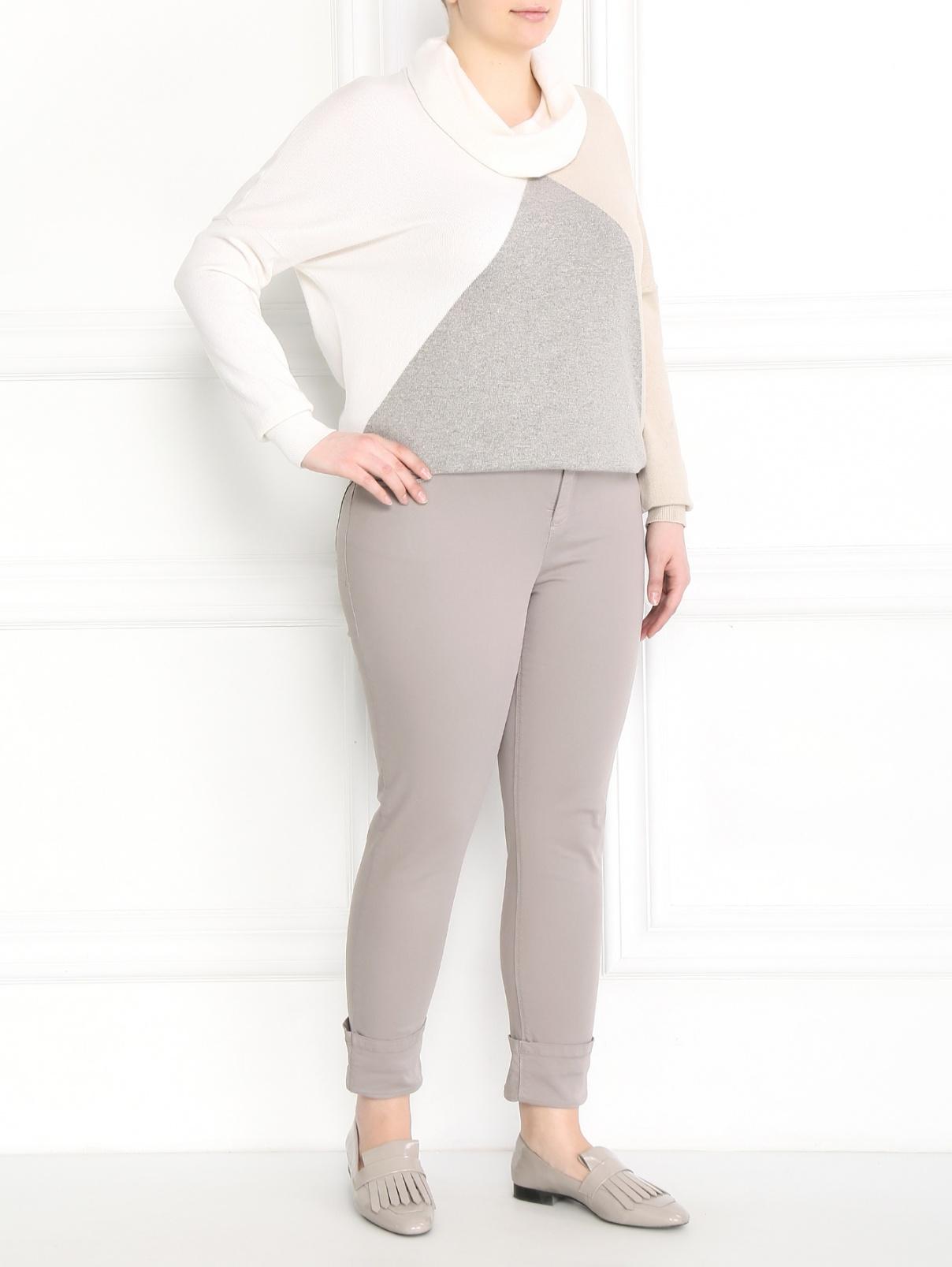 Укороченные брюки из хлопка Marina Sport  –  Модель Общий вид  – Цвет:  Серый